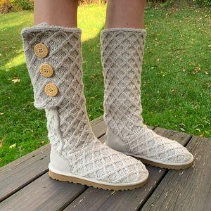 UGG 8 LATTICE CARDY Cream Knit Sweater Boots 3066